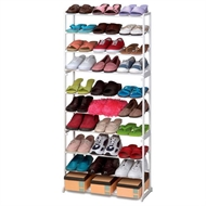 30 Pair Shoe Rack Tower 10 Tier Shelf Stand Unit White