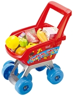 27 Pcs Childrens Kids Shopping Trolley Cart Role Playing Toy Set Plastic Fruit