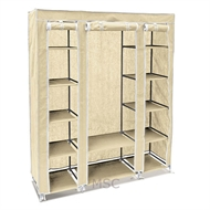 Beige Fabric Canvas Wardrobe With Hanging Rail Shelving Home Storage 135*45*175cm