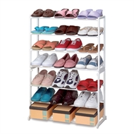 21 Pair Shoe Rack Tower 7 Tier Shelf Stand Unit White Lightweight Portable