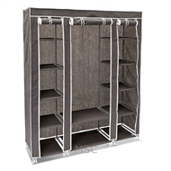 Grey Fabric Canvas Wardrobe With Hanging Rail Shelving Home Storage 135*45*175cm